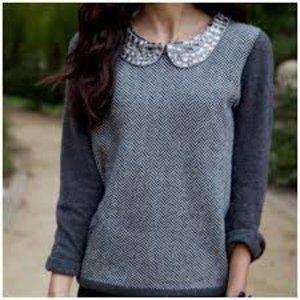J.Crew Gray Gemstone Collar Wool Blend Sweater